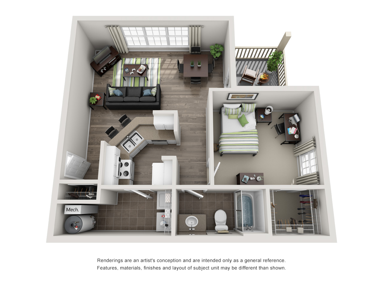 Floor plan of a one- bedroom student apartment