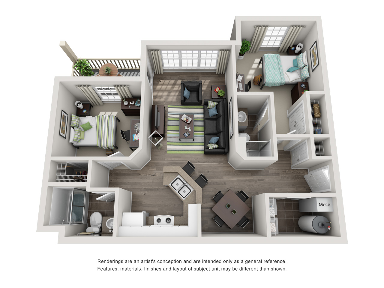 Floor plan of a two- bedroom student apartment