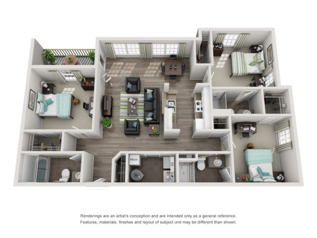 Floor plan of a three- bedroom student apartment
