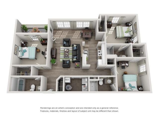 Floor plan of a three- bedroom student apartment